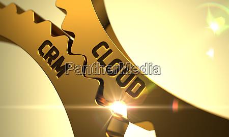 cloud crm on the golden metallic