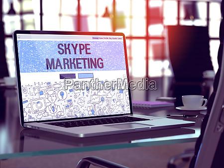 skype marketing concept on laptop screen