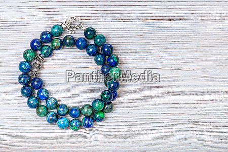necklace from polished azurite gemstones on