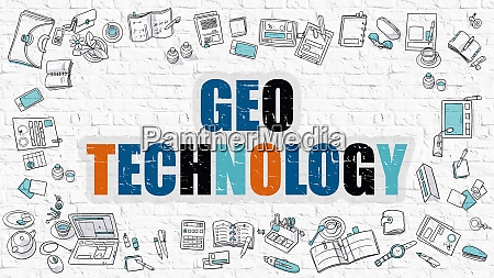 geo technology concept multicolor on white