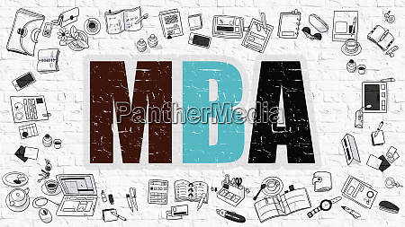 mba concept with doodle design icons