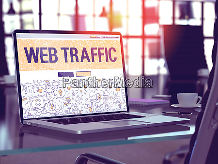 web traffic concept on laptop screen