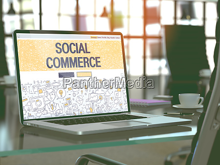 social commerce concept on laptop screen