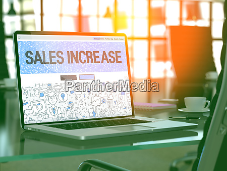 sales increase concept on laptop screen