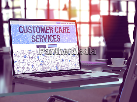 customer care services concept on laptop
