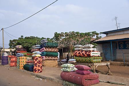 west africa benin roadside market selling