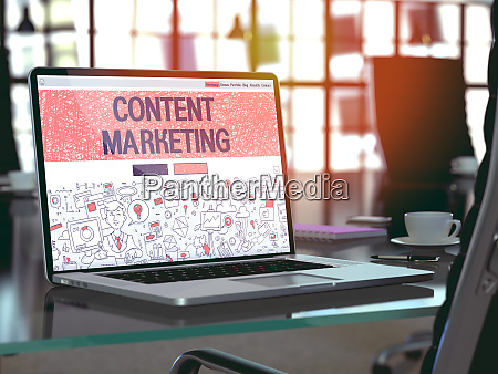 content marketing concept on laptop screen
