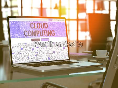 cloud computing concept on laptop screen