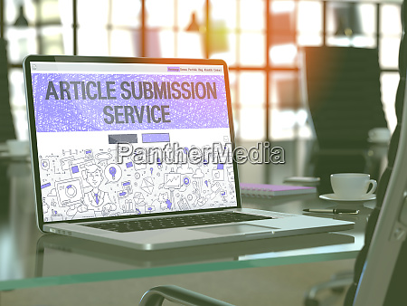 article submission service concept on laptop