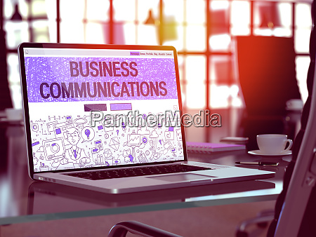 business communications on laptop screen