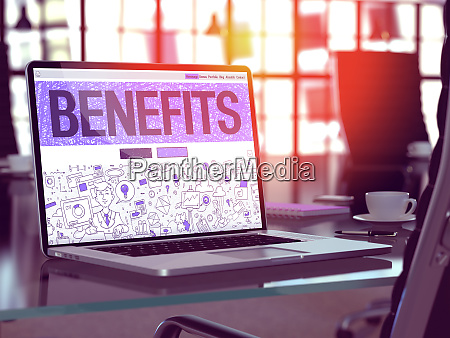 benefits on laptop in modern workplace