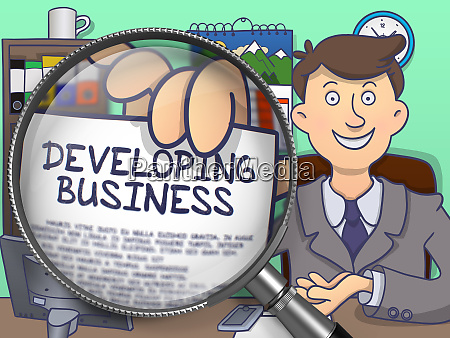 developing business through magnifying glass doodle