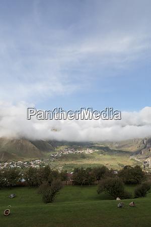 georgia mtskheta stepantsminda a hill overlooking