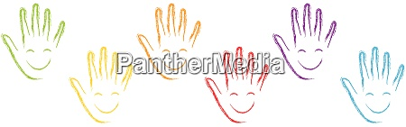 many hands faces laughter children background