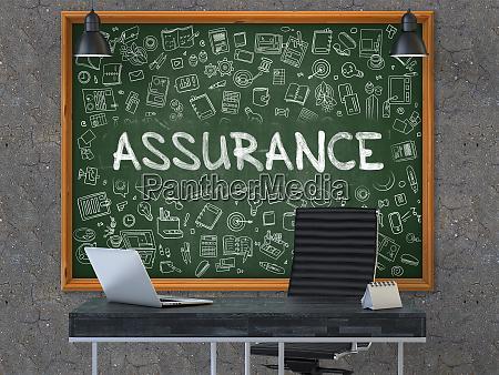 hand drawn assurance on office chalkboard