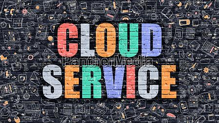 cloud service concept multicolor on dark