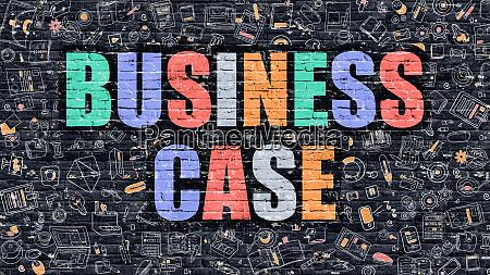 multicolor business case on dark brickwall