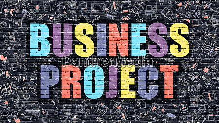 multicolor business project on dark brickwall