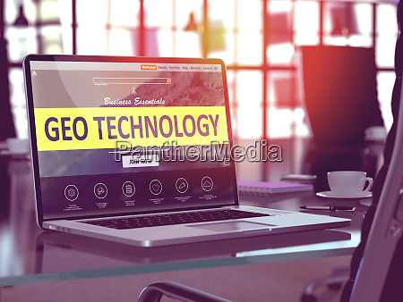 geo technology concept on laptop screen