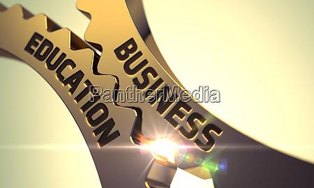 business education concept golden metallic gears