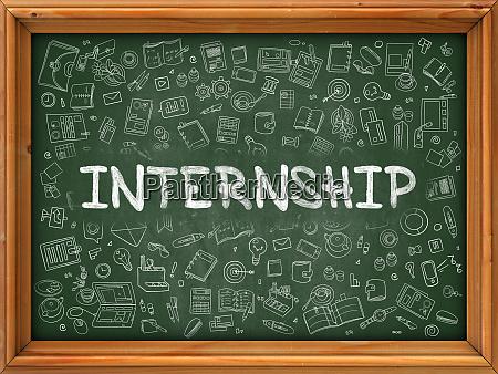 internship concept doodle icons on chalkboard