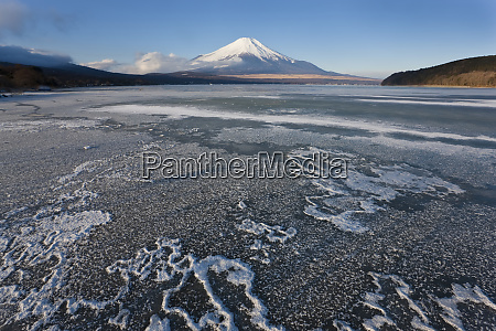 ice on lake yamanaka with snow
