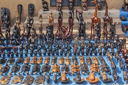 africa gambia banjul wooden masks animals