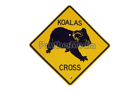 koala crossing warning sign australia