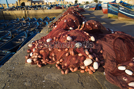 morocco essaouira red fishing nets lie