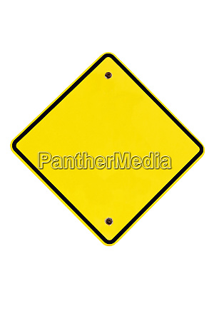 blank yellow road sign of style
