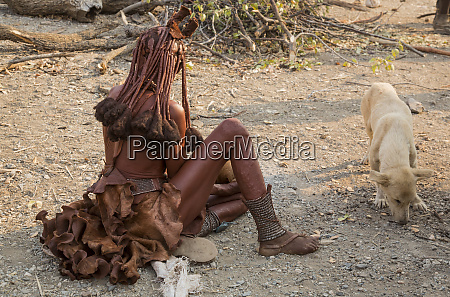 africa namibia opuwo seated himba woman