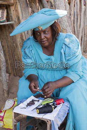 africa namibia herero tribe woman hand
