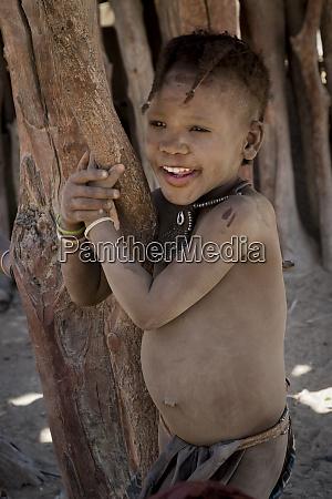 africa, , namibia, , opuwo., smiling, himba, child. - 27745439