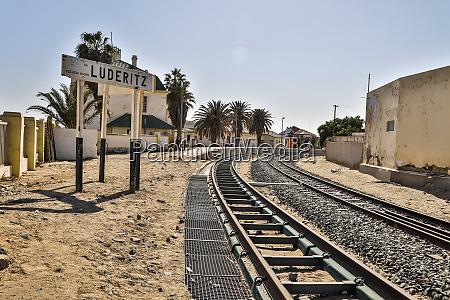 africa namibia railroad tracks at luederitz