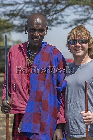 tanzania maasai with tourist