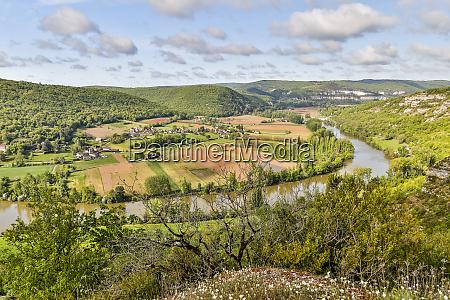 france lot river valley farmland along