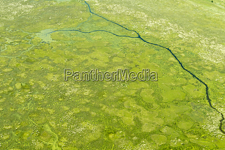 aerial view of wetlands to the