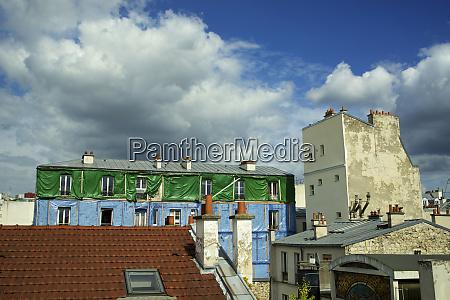 france paris typical parisian roofs large