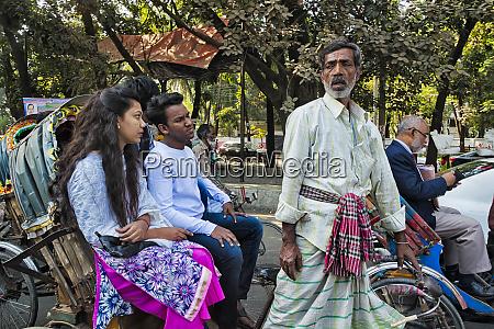 rickshaws on the street dhaka bangladesh
