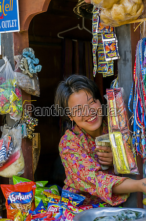 market stand with friendly saleswoman wangdue