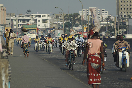 benin cotonou people walking on the