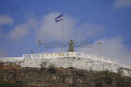 national flag on top f hill