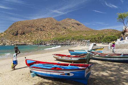fishing boats on beach tarrafal santiago
