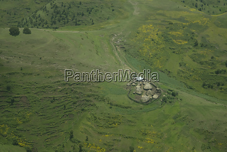 ethiopia aerial of farmland north