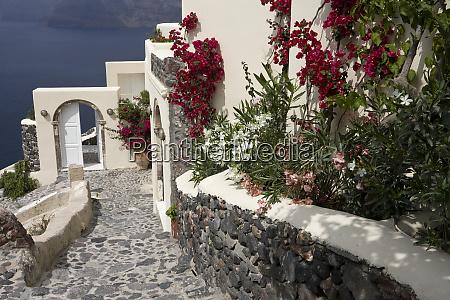 greece santorini thira oia pebbled staircase