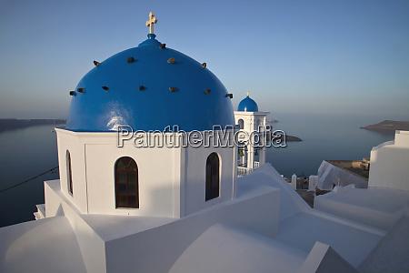 greece santorini blue domed church at
