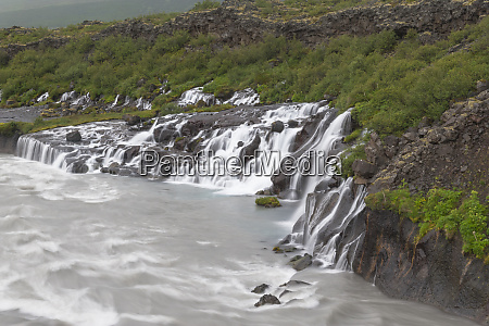 europe iceland west iceland borgarfjordur hraunfossar