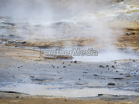 geothermal area at seltun on volcano