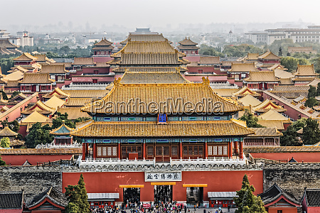 elevated view of forbidden city from