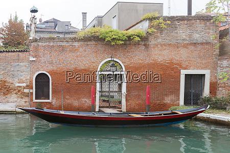 parked gondola venice italy